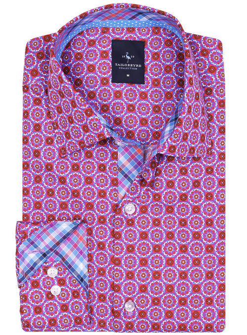 Fuchsia Geo Print Button-Down Shirt