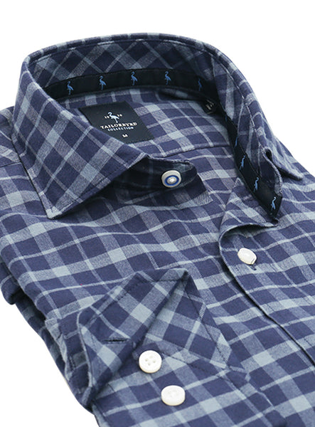 Blue Plaid Flannel Button-Down Shirt