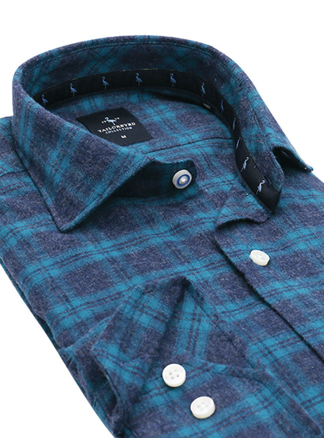 Turquoise Plaid Flannel Button-Down Shirt