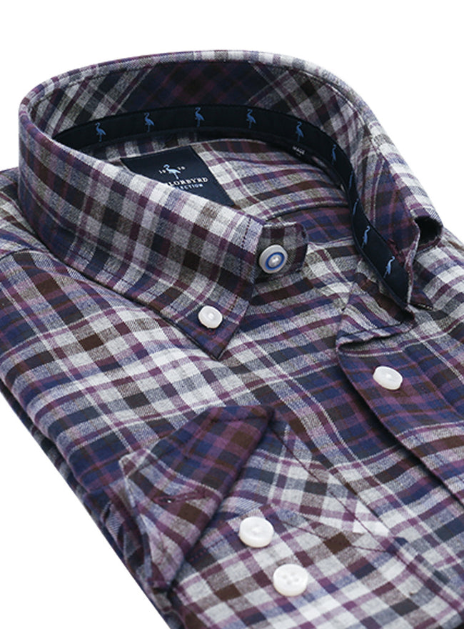Brown Plaid Flannel Button-Down Shirt