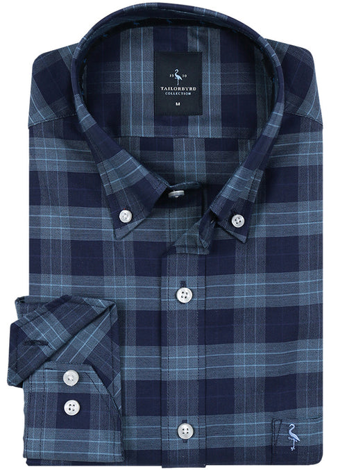 Blue Soft Plaid Button-Down Shirt