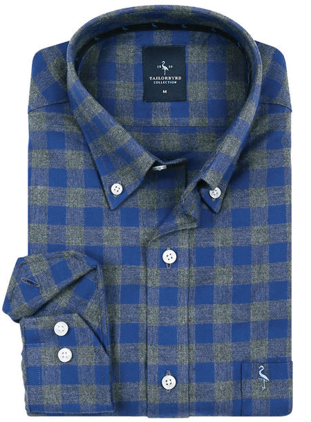 Blue and Green Plaid Button-Down Shirt