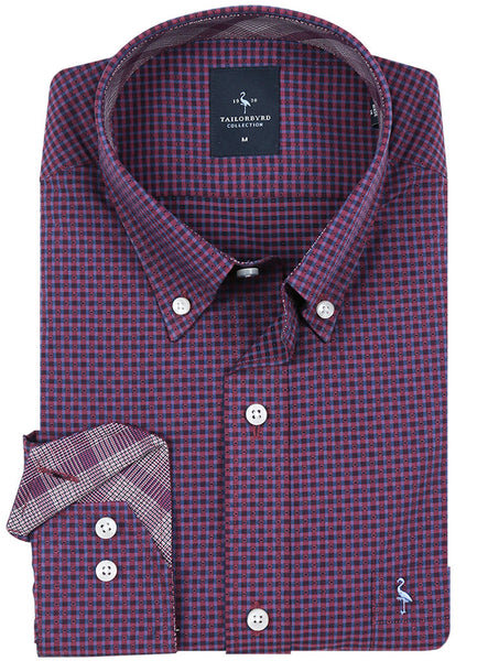 Red Textured Check Button-Down Shirt