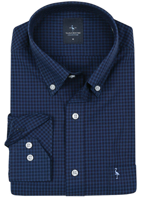 Navy Textured Check Button-Down Shirt