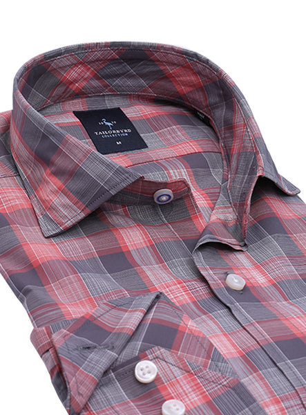 Grey and Peach Large Scale Plaid Button-Down Shirt
