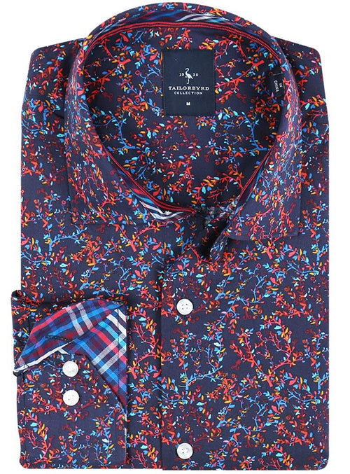 Navy Festive Floral Button-Down Shirt