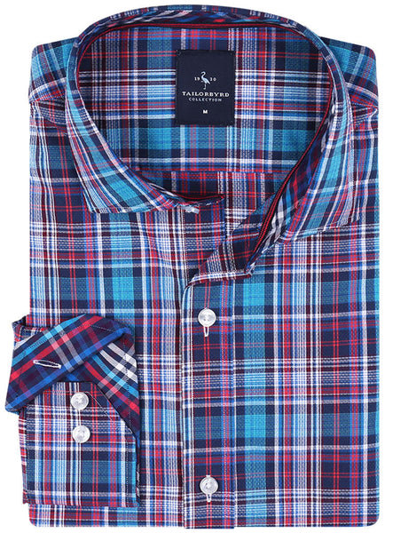Multi Textured Plaid Button-Down Shirt