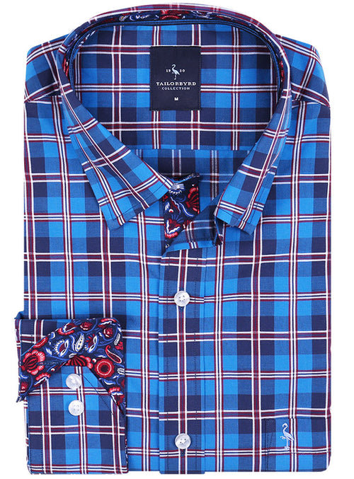 Royal Windowpane Plaid Button-Down Shirt
