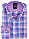 Purple Plaid Button-Down Shirt