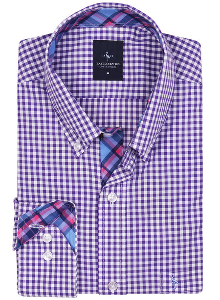Lavender Gingham Button-Down Shirt