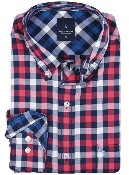 Blue Windowpane Plaid Button-Down Shirt