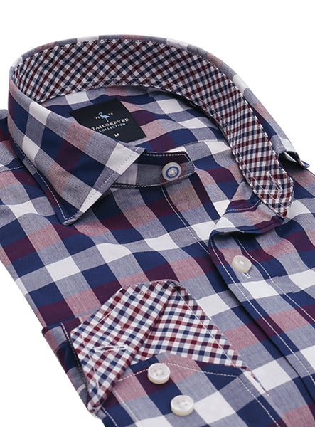 Blue and Red Gingham Button-Down Shirt