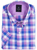 Purple Plaid Short Sleeve Shirt