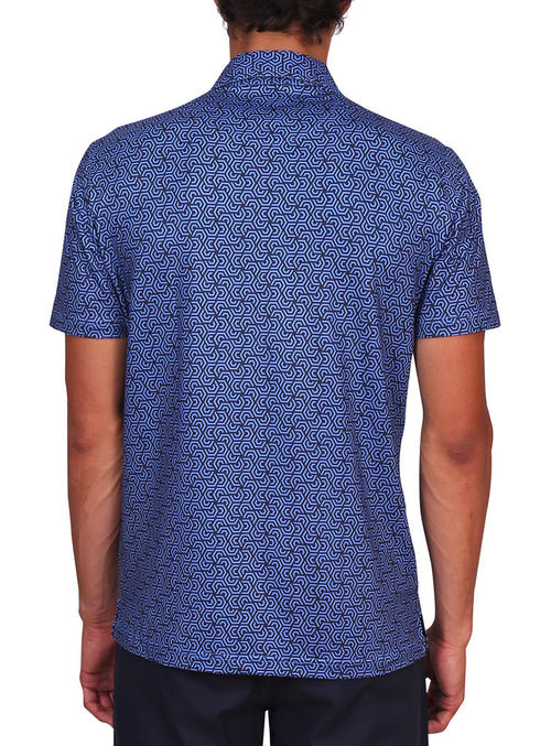 Navy Geometric Performance Polo
