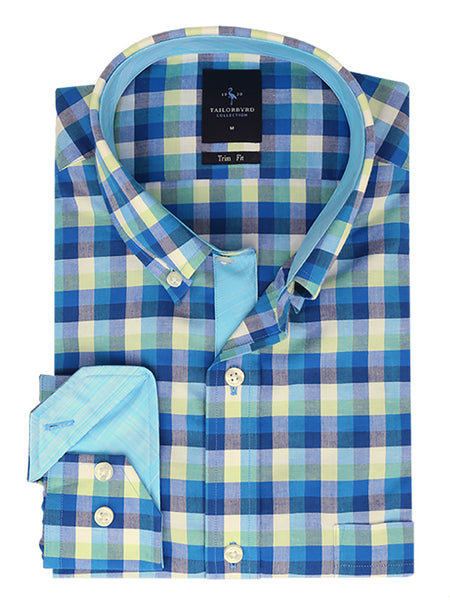 Blue and Green Plaid Boys Button-Down Long Sleeve Shirt