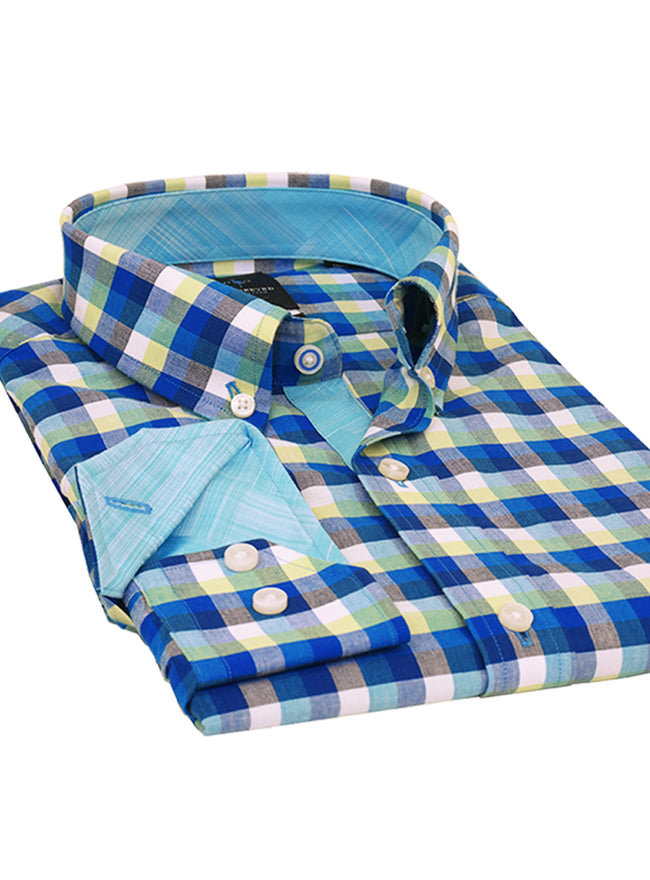 Blue and Lime Check Trim Fit Button-Down Shirt