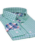 Aqua Windowpane Trim Fit Button-Down Shirt