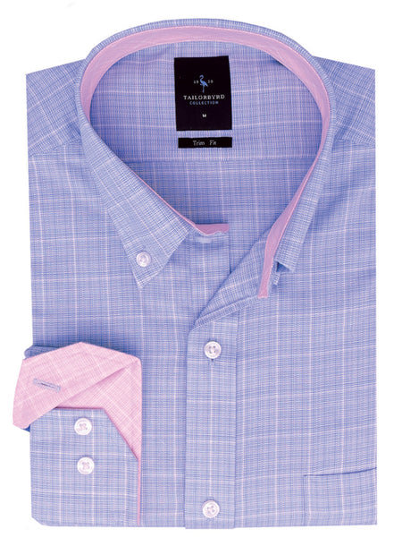 Blue Speckled Button-Down Short Sleeve Shirt