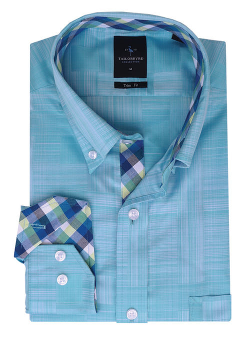 Aqua Solid Trim Fit Button-Down Shirt