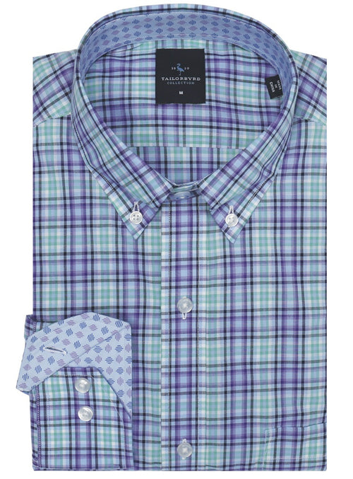 Light Blue and Purple Plaid Big and Tall Button-Down Shirt