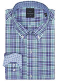 Light Blue and Purple Plaid Big and Tall Long Sleeve Shirt