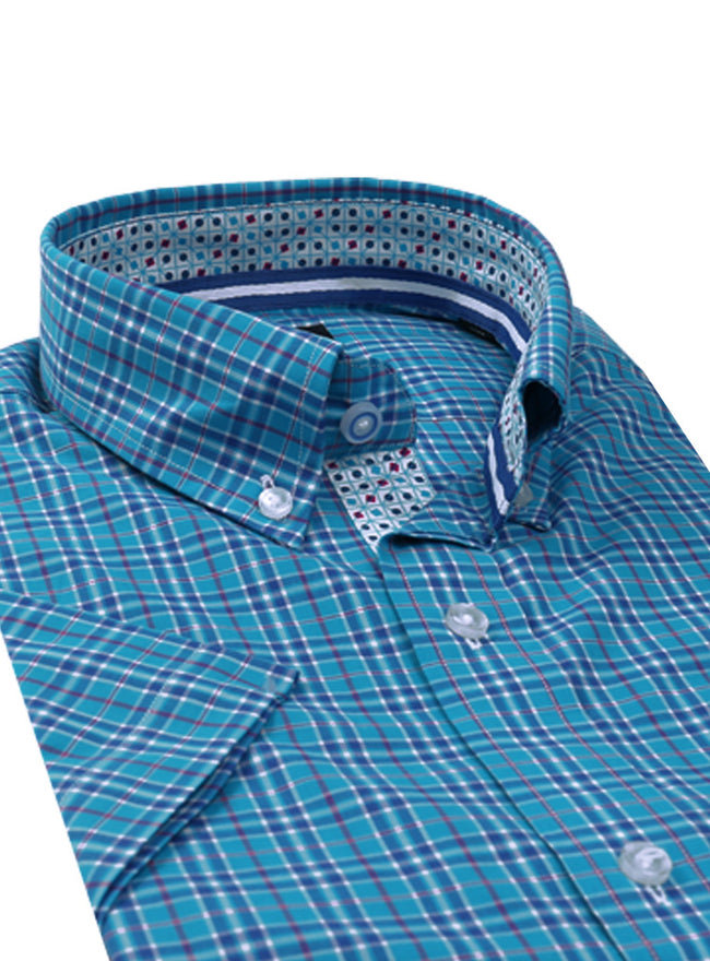 Aqua Plaid Short Sleeve Big and Tall Button-Down Shirt