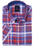 Red Plaid Big and Tall Short Sleeve Button-Down Shirt