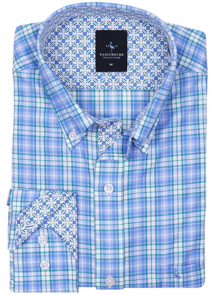 Blue Paisley Floral Big and Tall Button-Down Shirt