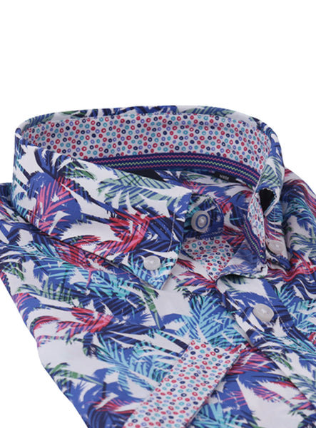 Pink Multi Palm Tree Print Big and Tall Short Sleeve Shirt