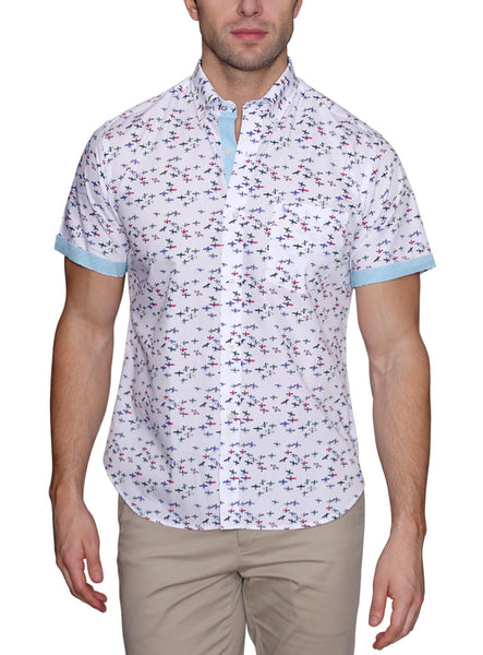 White Surfer Short Sleeve Big and Tall Button-Down Shirt