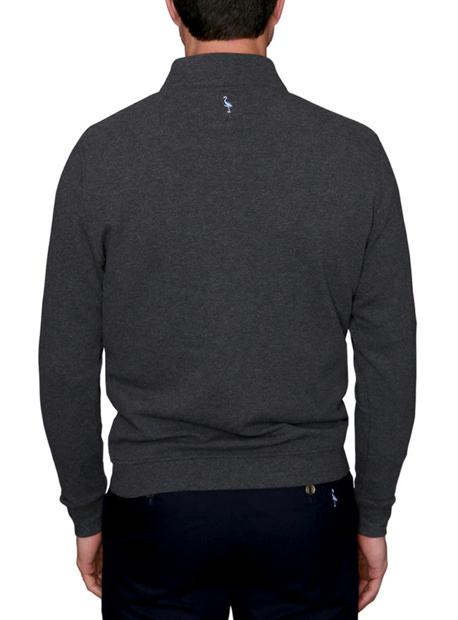 Popcorn Textured Quarter-Zip Big and Tall Pullover