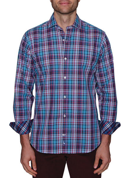 Multi Textured Plaid Big and Tall Long Sleeve Shirt