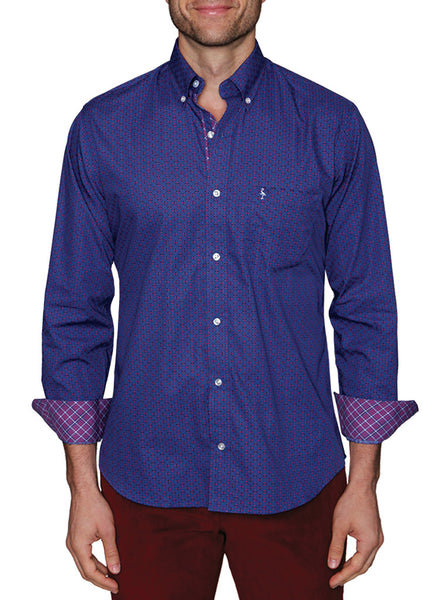 Royal Geometric Floral Big and Tall Button-Down Shirt