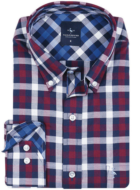 Red and White Check Big and Tall Button-Down Shirt