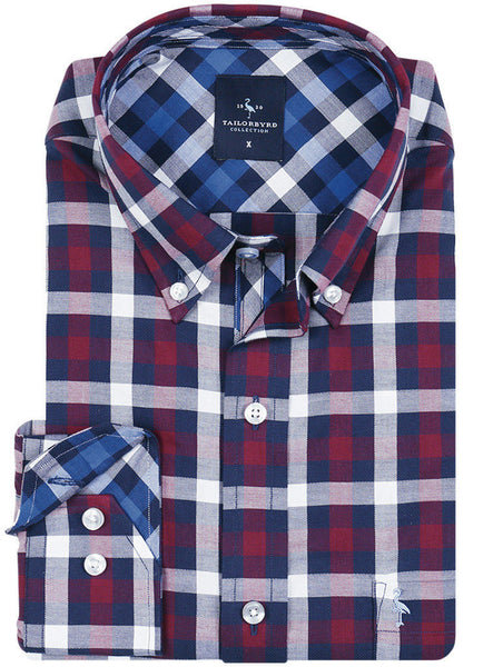 Marlberry Gingham Plaid Big and Tall Long Sleeve Shirt