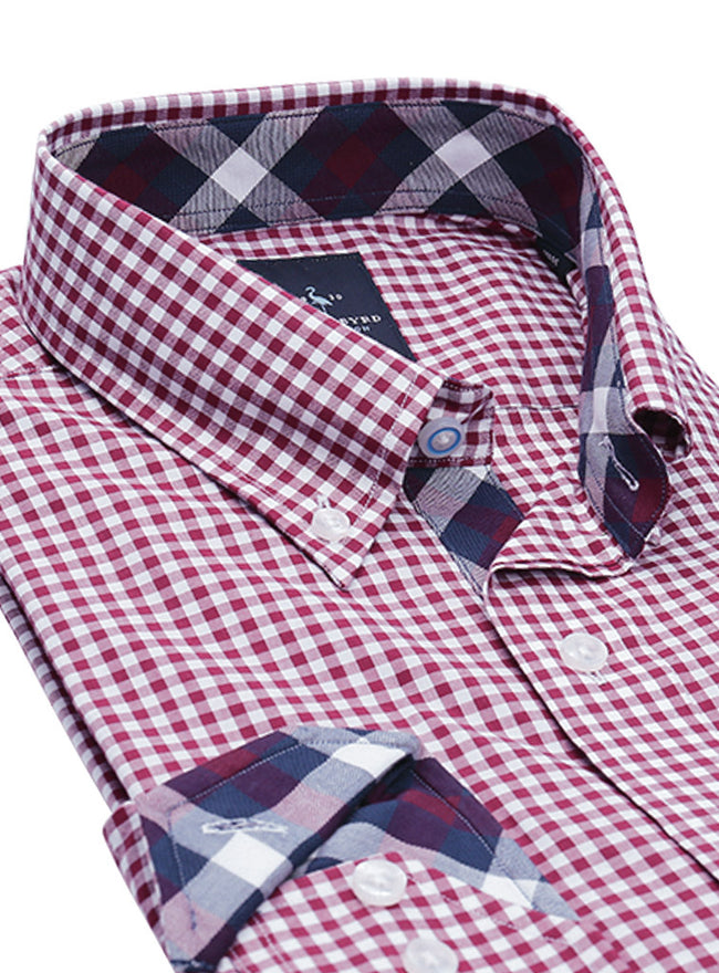 Merlot Gingham Big and Tall Button-Down Shirt