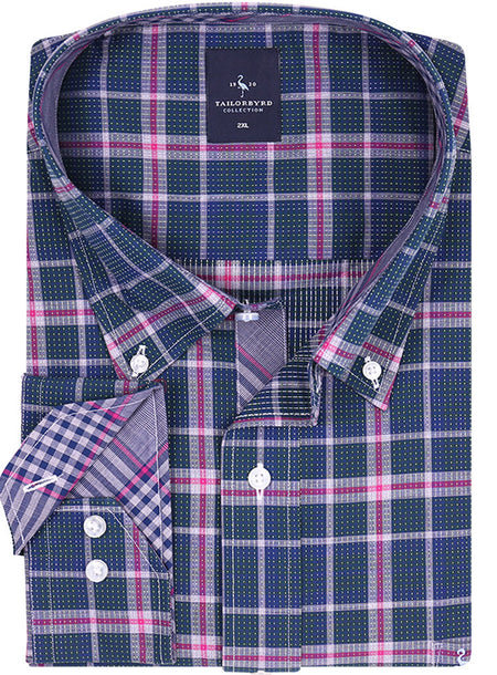 Navy and Purple Lined Plaid Big and Tall Button-Down Shirt