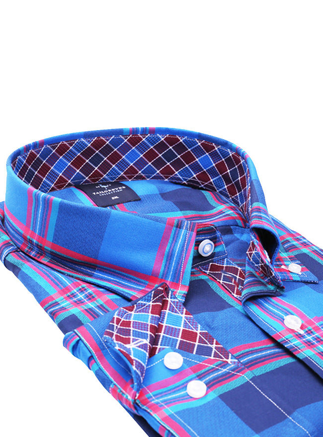 Blue Large Scale Plaid Big Button-Down Shirt