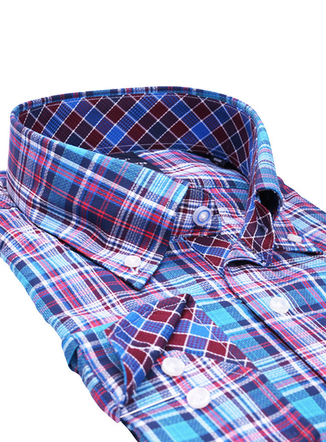 Multi Textured Plaid Tall Long Sleeve Shirt