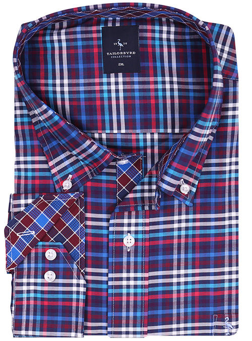 Multi Grid Plaid Big Button-Down Shirt