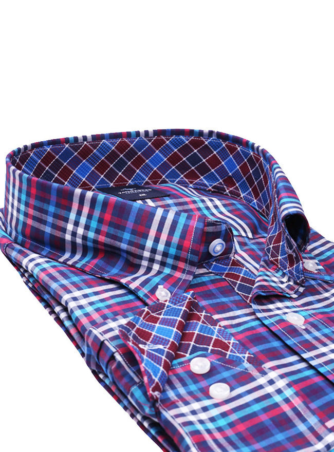 Multi Grid Plaid Big Long Sleeve Shirt