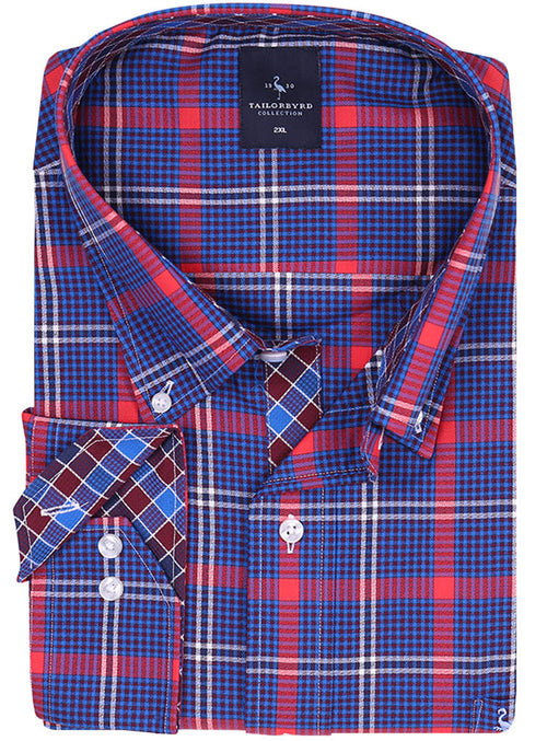 Navy and Red Windowpane Big Button-Down Shirt