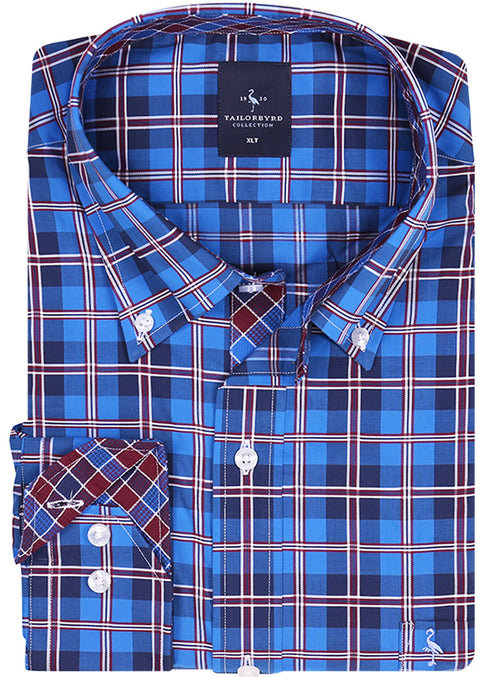 Royal Windowpane Plaid Tall Long Sleeve Shirt