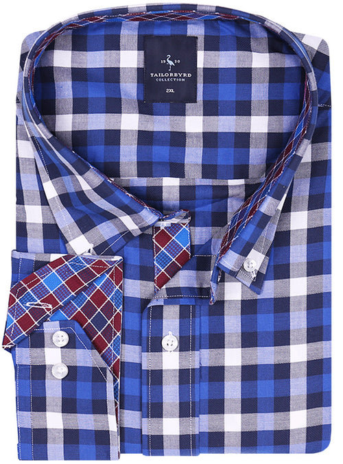 Oxford Blue Plaid Big Long Sleeve Shirt