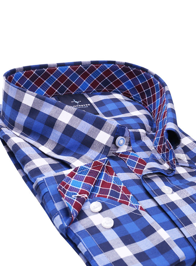 Oxford Blue Plaid Big Button-Down Shirt
