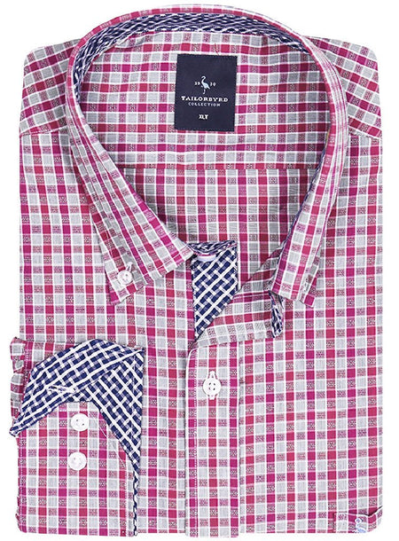 Berry Textured Dot Big and Tall Button-Down Shirt