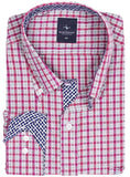 Red and White Check Big and Tall Long Sleeve Shirt