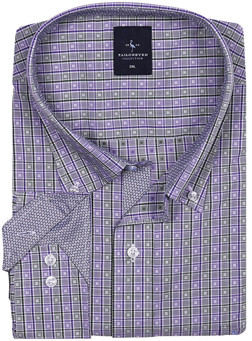 Purple and White Check Big and Tall Long Sleeve Shirt