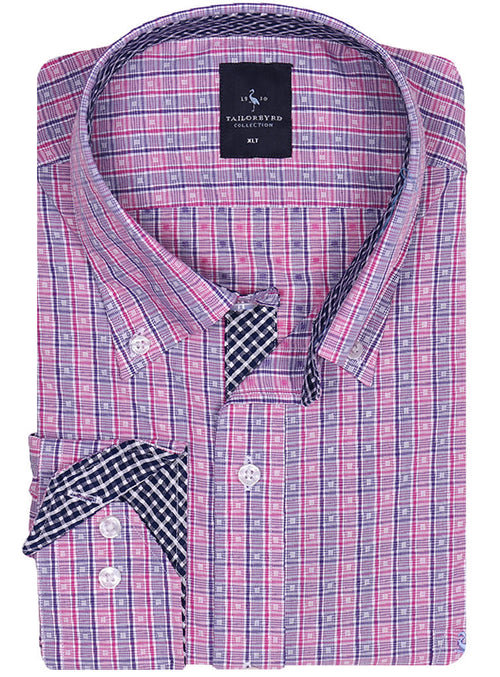 Navy and Fuchsia Check Big and Tall Button-Down Shirt