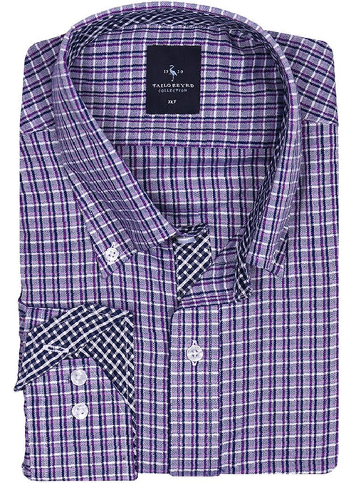 Navy and Purple Lined Plaid Big and Tall Long Sleeve Shirt